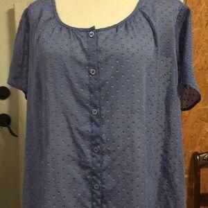 2/$15 EUC Susan Graver 1X SS Sheer Blouse Med Blue